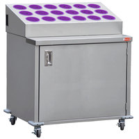 Steril-Sil ENC36-18RP-VIOLET Stainless Steel Silverware Cart with 18 Violet Silverware Cylinders