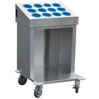 Steril-Sil CRT24-12RP-BLUE 24 inch Open Base Stainless Steel Silverware / Tray Cart with 12 Blue Silverware Cylinders