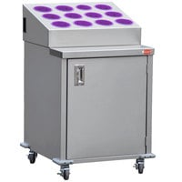 Steril-Sil ENC24-12RP-VIOLET Stainless Steel Silverware Cart with 12 Violet Silverware Cylinders