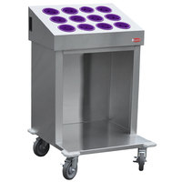 Steril-Sil CRT24-12RP-VIOLET 24 inch Open Base Stainless Steel Silverware / Tray Cart with 12 Violet Silverware Cylinders