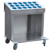 Steril-Sil CRT36-18-BLUE 36 inch Open Base Stainless Steel Silverware / Tray Cart with 18 Blue Silverware Cylinders