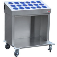 Steril-Sil CRT36-18RP-BLUE 36 inch Open Base Stainless Steel Silverware / Tray Cart with 18 Blue Silverware Cylinders