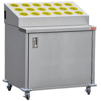 Steril-Sil ENC36-18RP-YELLOW Stainless Steel Silverware Cart with 18 Yellow Silverware Cylinders
