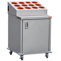 Steril-Sil ENC24-12RP-RED Stainless Steel Silverware Cart with 12 Red Silverware Cylinders