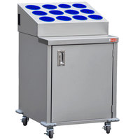 Steril-Sil ENC24-12RP-BLUE Stainless Steel Silverware Cart with 12 Blue Silverware Cylinders
