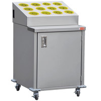 Steril-Sil ENC24-12RP-YELLOW Stainless Steel Silverware Cart with 12 Yellow Silverware Cylinders