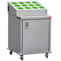 Steril-Sil ENC24-12RP-LIME Stainless Steel Silverware Cart with 12 Lime Silverware Cylinders