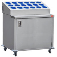 Steril-Sil ENC36-18RP-BLUE Stainless Steel Silverware Cart with 18 Blue Silverware Cylinders