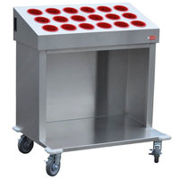 Steril-Sil CRT36-18-RED 36 inch Open Base Stainless Steel Silverware / Tray Cart with 18 Red Silverware Cylinders