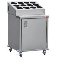 Steril-Sil ENC24-12RP-BLACK Stainless Steel Silverware Cart with 12 Black Silverware Cylinders
