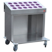 Steril-Sil CRT36-18-VIOLET 36 inch Open Base Stainless Steel Silverware / Tray Cart with 18 Violet Silverware Cylinders
