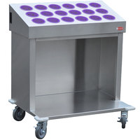 Steril-Sil CRT36-18RP-VIOLET 36 inch Open Base Stainless Steel Silverware / Tray Cart with 18 Violet Silverware Cylinders