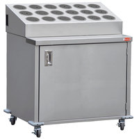 Steril-Sil ENC36-18RP-GRAY Stainless Steel Silverware Cart with 18 Gray Silverware Cylinders