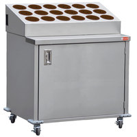 Steril-Sil ENC36-18RP-BROWN Stainless Steel Silverware Cart with 18 Brown Silverware Cylinders