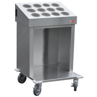 Steril-Sil CRT24-12RP-GRAY 24 inch Open Base Stainless Steel Silverware / Tray Cart with 12 Gray Silverware Cylinders