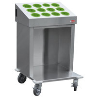 Steril-Sil CRT24-12RP-LIME 24 inch Open Base Stainless Steel Silverware / Tray Cart with 12 Lime Silverware Cylinders