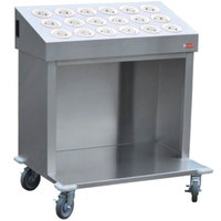 Steril-Sil CRT36-18-WHITE 36 inch Open Base Stainless Steel Silverware / Tray Cart with 18 White Silverware Cylinders