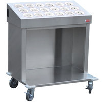Steril-Sil CRT36-18RP-WHITE 36 inch Open Base Stainless Steel Silverware / Tray Cart with 18 White Silverware Cylinders