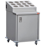 Steril-Sil ENC24-12RP-GRAY Stainless Steel Silverware Cart with 12 Gray Silverware Cylinders