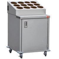 Steril-Sil ENC24-12RP-BROWN Stainless Steel Silverware Cart with 12 Brown Silverware Cylinders
