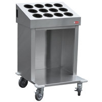 Steril-Sil CRT24-12RP-BLACK 24 inch Open Base Stainless Steel Silverware / Tray Cart with 12 Black Silverware Cylinders