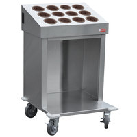 Steril-Sil CRT24-12RP-BROWN 24 inch Open Base Stainless Steel Silverware / Tray Cart with 12 Brown Silverware Cylinders