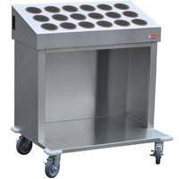 Steril-Sil CRT36-18RP-GRAY 36 inch Open Base Stainless Steel Silverware / Tray Cart with 18 Gray Silverware Cylinders