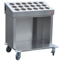 Steril-Sil CRT36-18SS 36 inch Open Base Stainless Steel Silverware / Tray Cart with 18 Stainless Steel Silverware Cylinders