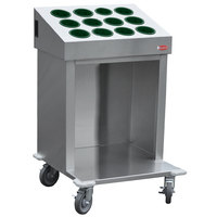 Steril-Sil CRT24-12RP-HUNTER 24 inch Open Base Stainless Steel Silverware / Tray Cart with 12 Hunter Green Silverware Cylinders