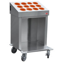 Steril-Sil CRT24-12RP-ORANGE 24 inch Open Base Stainless Steel Silverware / Tray Cart with 12 Orange Silverware Cylinders