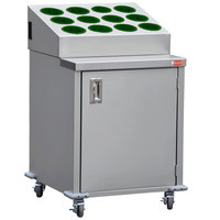 Steril-Sil ENC24-12RP-HUNTER Stainless Steel Silverware Cart with 12 Hunter Green Silverware Cylinders
