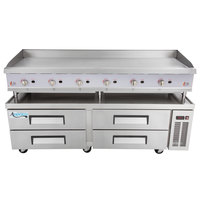 Cooking Performance Group 72GMRBNL 72 inch Gas Countertop Griddle with Manual Controls and 4 Drawer Refrigerated Chef Base - 180,000 BTU