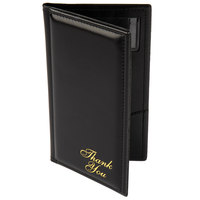 Menu Solutions CH870 5 inch x 9 inch Black Guest Check Presenter with Credit Card Pocket