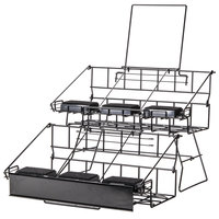Six Pot Two Tier Black Wire Airpot Rack With Drip Trays