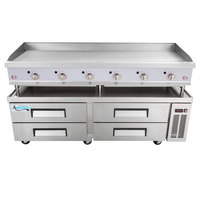 Cooking Performance Group 72GTRBNL 72 inch Gas Countertop Griddle with Thermostatic Controls and 4 Drawer Refrigerated Chef Base - 180,000 BTU