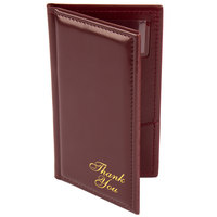 Menu Solutions CH870 5 inch x 9 inch Burgundy Guest Check Presenter with Credit Card Pocket
