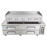 Cooking Performance Group 60GRMRBNL 60 inch Gas Countertop Griddle with Manual Controls and 4 Drawer Refrigerated Chef Base - 150,000 BTU