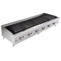 Cooking Performance Group CBL72-NG(CPG) 72 inch Gas Lava Briquette Charbroiler - 240,000 BTU