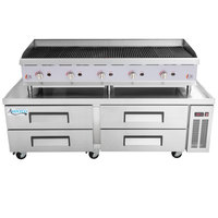 Cooking Performance Group 60CBLRBNL 60 inch Gas Lava Rock Charbroiler with 4 Drawer Refrigerated Chef Base - 200,000 BTU