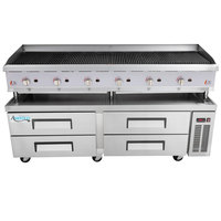 Cooking Performance Group 72CBLRBNL 72 inch Gas Lava Rock Charbroiler with 4 Drawer Refrigerated Chef Base - 240,000 BTU