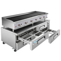 Cooking Performance Group 72CBLRBNL 72 inch Gas Lava Briquette Charbroiler with 4 Drawer Refrigerated Chef Base - 240,000 BTU