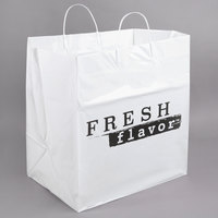 14 inch x 10 inch x 15 inch White Rigid Plastic Handled Shopper Bag with Fresh Flavor Printing - 100/Case