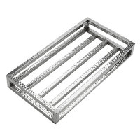 American Metalcraft HMCL 17 1/4 inch x 9 1/2 inch Rectangular Hammered Stainless Steel Frame Crate