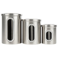 Stainless Steel 3-Piece Ingredient Storage Canister Set