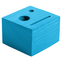 Menu Solutions WDBLOCK-CHECK 3 1/2 inch x 3 1/2 inch x 2 1/2 inch Customizable Sky Blue Wood Block Check Presenter