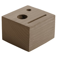 Menu Solutions WDBLOCK-CHECK 3 1/2 inch x 3 1/2 inch x 2 1/2 inch Customizable Weathered Walnut Wood Block Check Presenter