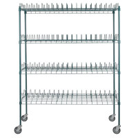 Regency 24 inch x 60 inch Green Epoxy Drying Rack 4-Shelf Kit with 64 inch Posts and Casters - 3 inch Slots