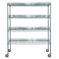 Regency 24 inch x 60 inch Green Epoxy Drying Rack 4-Shelf Kit with 64 inch Posts and Casters - 1 1/4 inch Slots