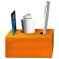 Menu Solutions WDBLOCK-CHECK 3 1/2 inch x 3 1/2 inch x 2 1/2 inch Customizable Mandarin Wood Block Check Presenter