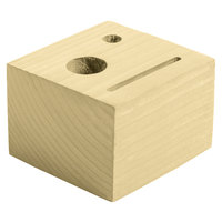 Menu Solutions WDBLOCK-CHECK 3 1/2 inch x 3 1/2 inch x 2 1/2 inch Customizable Natural Wood Block Check Presenter